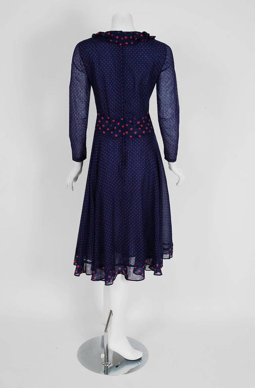 1974 Thea Porter Navy & Pink Polka-Dot Print Cotton Voile Long-Sleeve Dress In Excellent Condition For Sale In Beverly Hills, CA