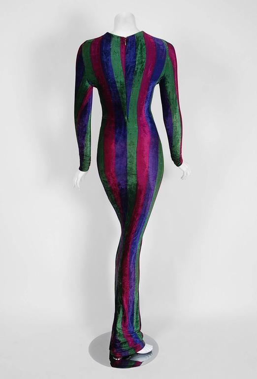 1993 Gianni Versace Couture Striped Velvet Hourglass Long-Sleeve Gown Dress  For Sale 1