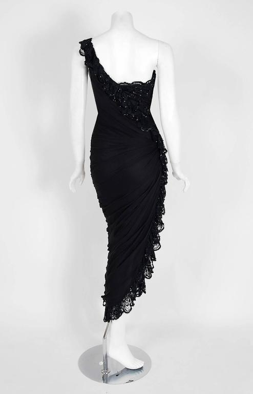 3d738af3d867 1977 Loris Azzaro Couture Black Sequin Lace Chiffon One-Shoulder Bias Cut  Dress For Sale