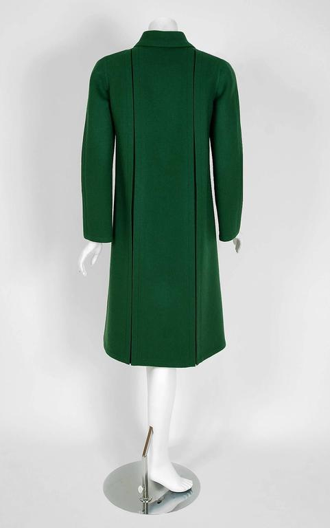 1975 Valentino Couture Forest-Green Wool Mod Military Pockets Pleated Coat 5