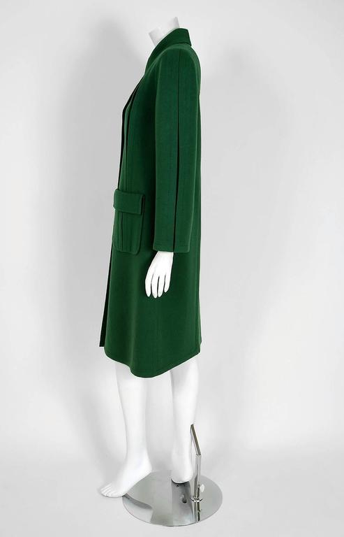 1975 Valentino Couture Forest-Green Wool Mod Military Pockets Pleated Coat 4