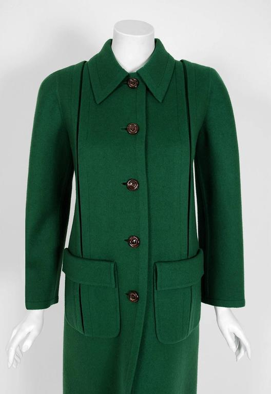 1975 Valentino Couture Forest-Green Wool Mod Military Pockets Pleated Coat 2