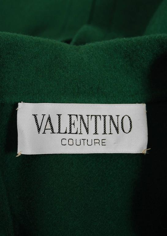 1975 Valentino Couture Forest-Green Wool Mod Military Pockets Pleated Coat 6