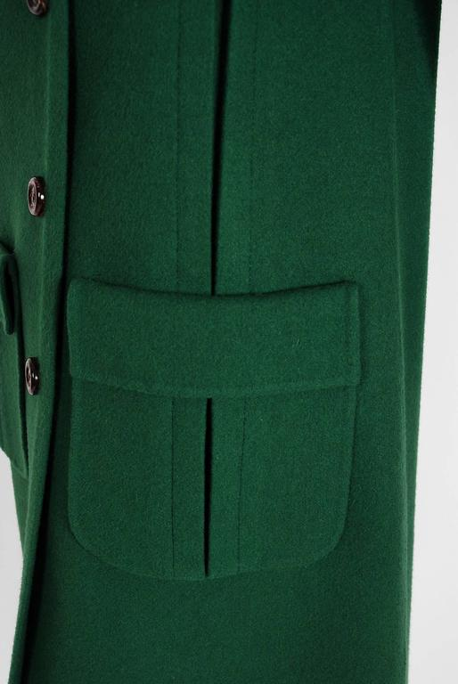 1975 Valentino Couture Forest-Green Wool Mod Military Pockets Pleated Coat 3