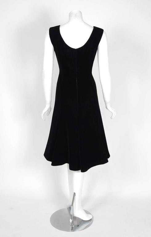 1990's Valentino Couture Black Velvet Sheer-Illusion Beaded Silk Dress & Jacket 6