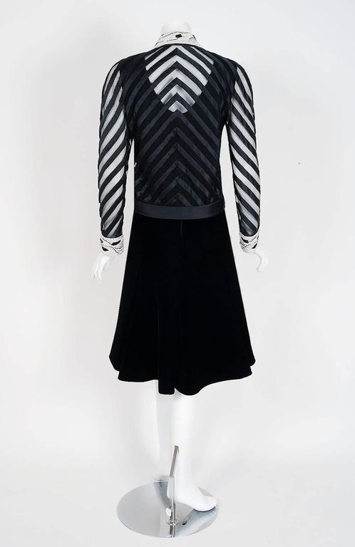 1990's Valentino Couture Black Velvet Sheer-Illusion Beaded Silk Dress & Jacket 7