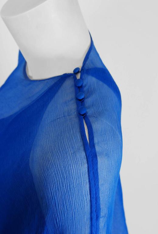 Vintage 1977 Oscar de la Renta Royal-Blue Silk Asymmetric Caftan Blouse & Skirt In Good Condition For Sale In Beverly Hills, CA
