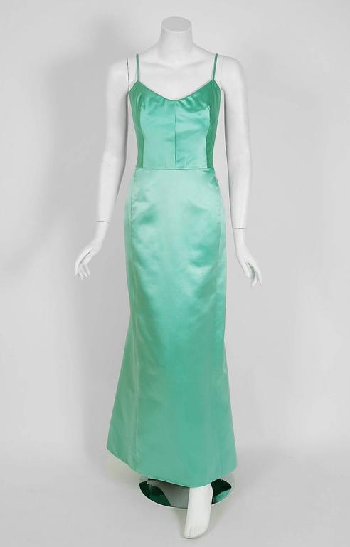 1962 Nina Ricci Haute-Couture Seafoam Blue Green Beaded Lace & Satin Formal Gown For Sale 1