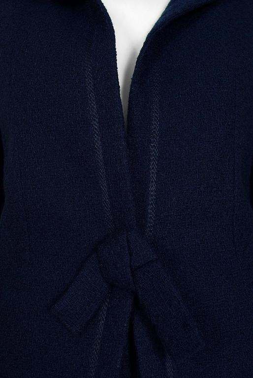 Black 1962 Christian Dior Haute-Couture Navy Blue Wool Bow-Tie Tailored Mod Dress Suit For Sale
