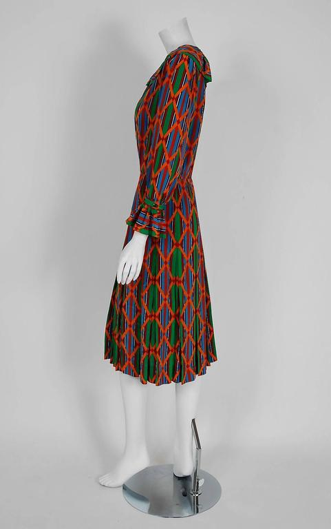 1979 Yves Saint Laurent Navajo Southwestern Print Silk Pleated Peasant Dress 4