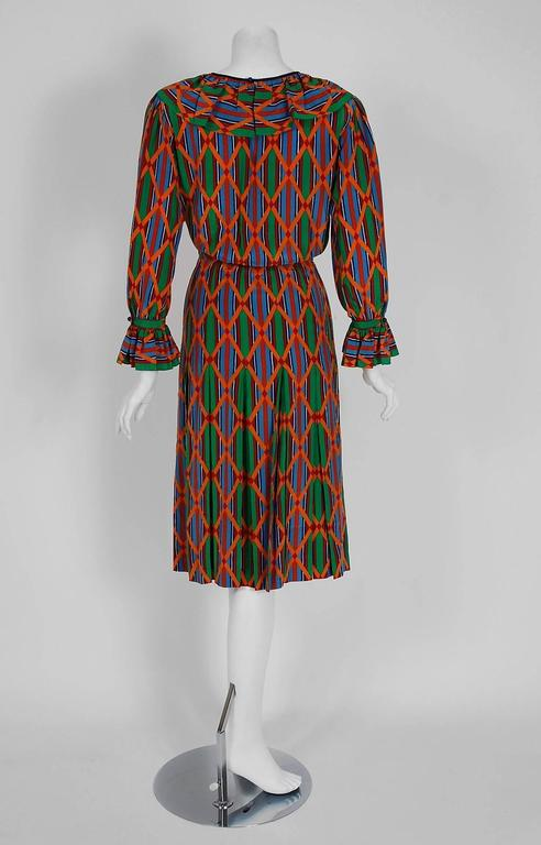 1979 Yves Saint Laurent Navajo Southwestern Print Silk Pleated Peasant Dress 5