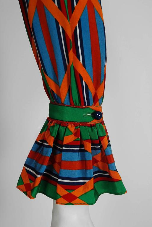 1979 Yves Saint Laurent Navajo Southwestern Print Silk Pleated Peasant Dress 3