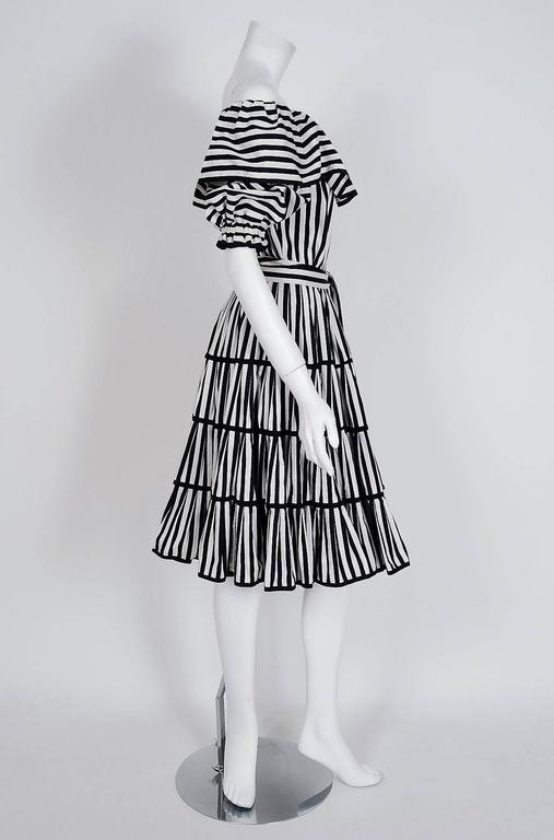 Women's 1970's Yves Saint Laurent Black & White Stripe Cotton Off-Shoulder Belted Dress