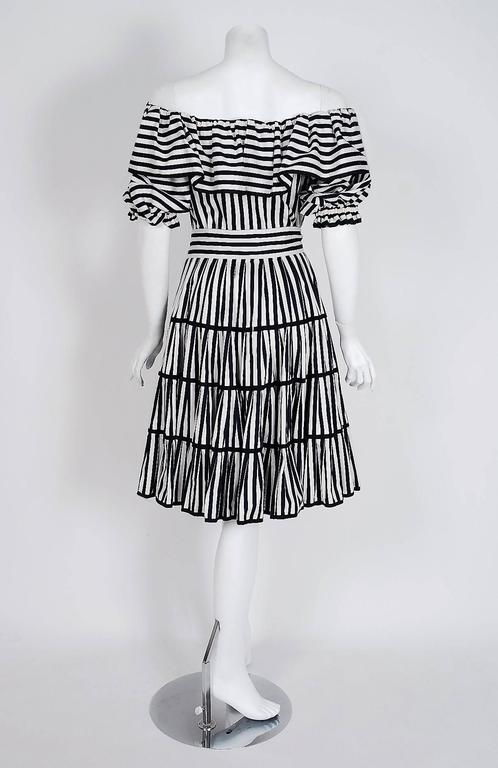 1970's Yves Saint Laurent Black & White Stripe Cotton Off-Shoulder Belted Dress 1