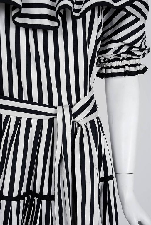 1970's Yves Saint Laurent Black & White Stripe Cotton Off-Shoulder Belted Dress In Excellent Condition In Beverly Hills, CA