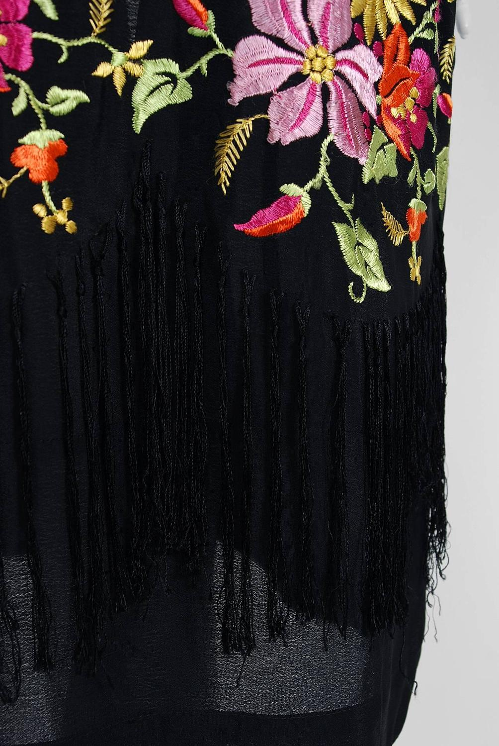S embroidered floral black silk rayon deco flapper