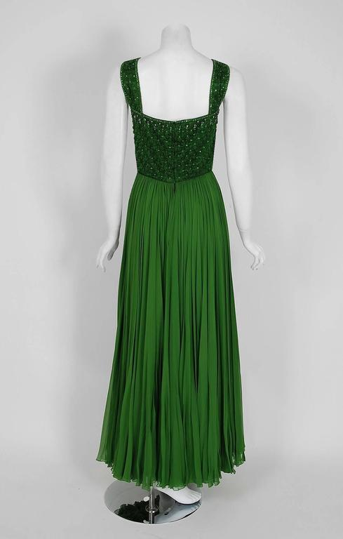 Rosali Macrini Olive Green Beaded Rhinestone Silk Chiffon Evening Gown, 1950s  For Sale 1