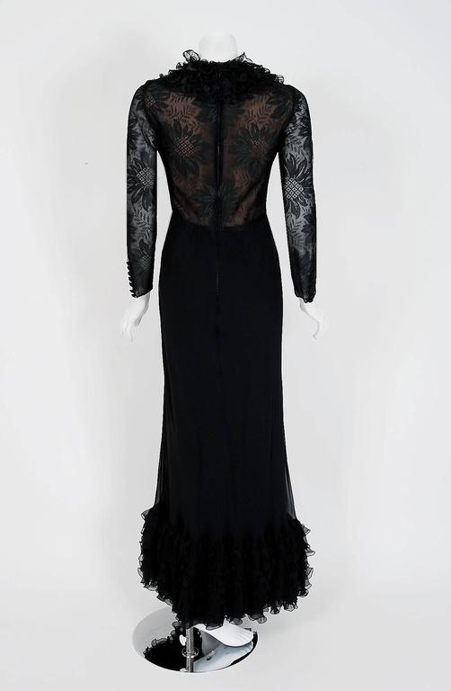 1975 Valentino Couture Black Silk-Chiffon & Sheer Illusion-Lace Ruffle Gown For Sale 1