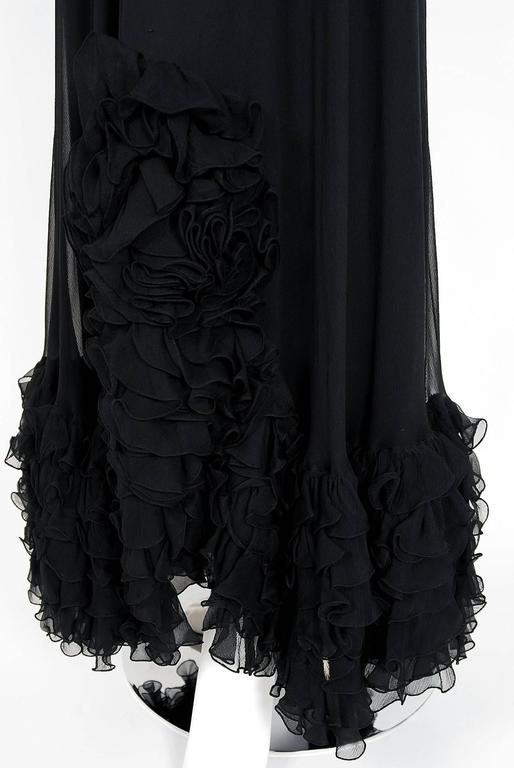 Women's 1975 Valentino Couture Black Silk-Chiffon & Sheer Illusion-Lace Ruffle Gown For Sale