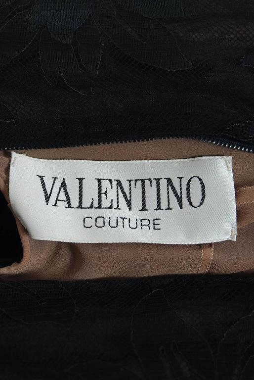 1975 Valentino Couture Black Silk-Chiffon & Sheer Illusion-Lace Ruffle Gown For Sale 2