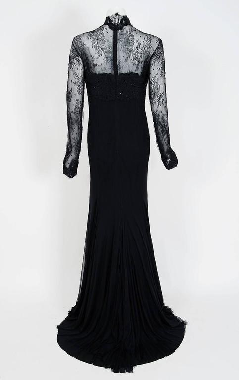 2010 Rafael Cennamo Couture Black Beaded Lace-Illusion Gothic Trained Gown For Sale 1