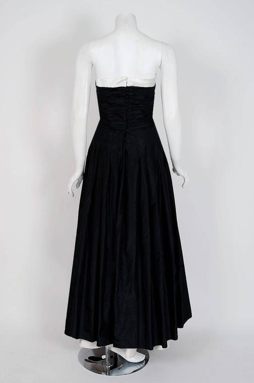 1992 Chanel Black Silk and White Satin Ruched Strapless Evening Gown ...