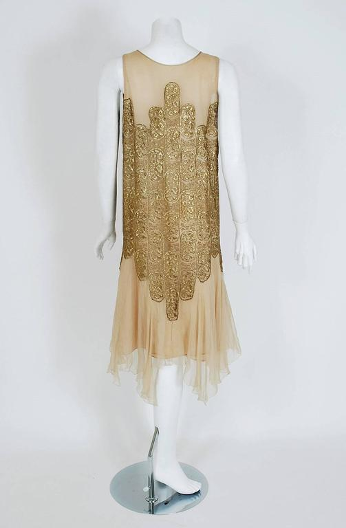 Women's 1925 Elspeth Champcommunal Haute-Couture Metallic Gold Lame Silk Flapper Dress For Sale