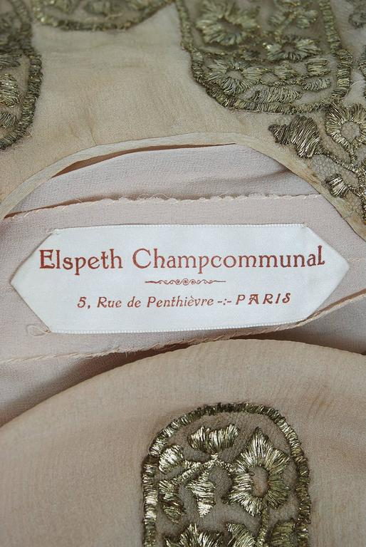 1925 Elspeth Champcommunal Haute-Couture Metallic Gold Lame Silk Flapper Dress For Sale 1
