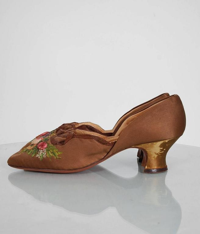 1910's Laird Schober Couture Floral Embroidered Applique Rosettes Silk Shoes 3