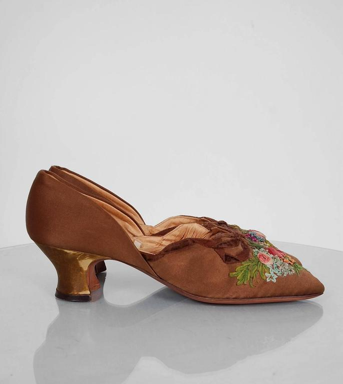 1910's Laird Schober Couture Floral Embroidered Applique Rosettes Silk Shoes 4