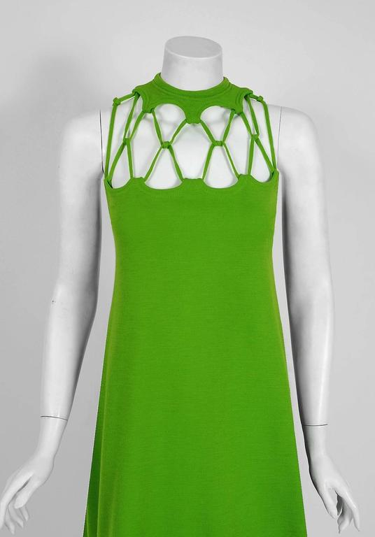 1968 Rudi Gernreich Green Wool Scalloped Cut-Out Cage Mod Space-Age Mini Dress 2