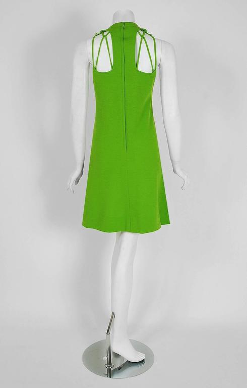 1968 Rudi Gernreich Green Wool Scalloped Cut-Out Cage Mod Space-Age Mini Dress 4