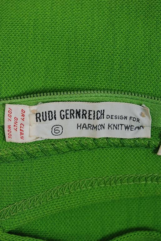 1968 Rudi Gernreich Green Wool Scalloped Cut-Out Cage Mod Space-Age Mini Dress 6