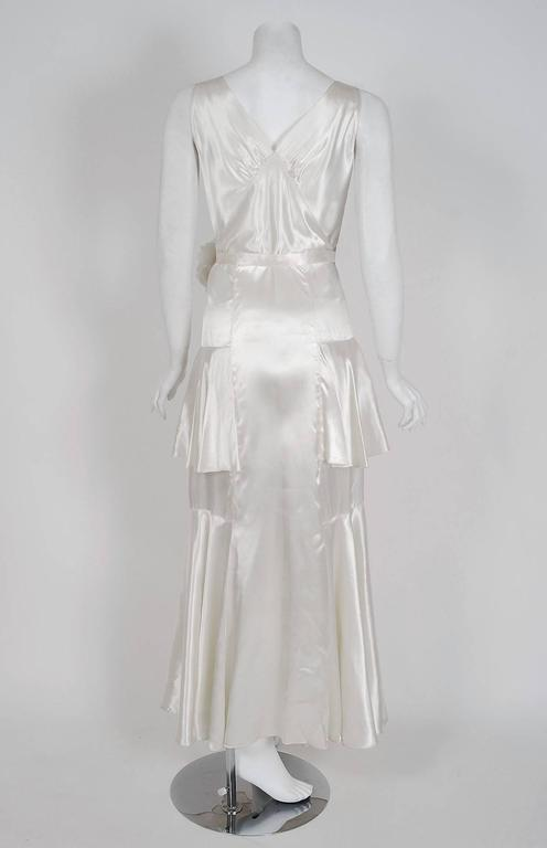 1930's Ethereal Ivory-White Satin Floral Applique Bias-Cut Tiered Deco Gown 6
