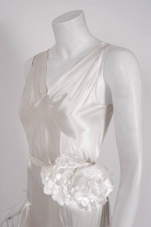 Gray 1930's Ethereal Ivory-White Satin Floral Applique Bias-Cut Tiered Deco Gown For Sale