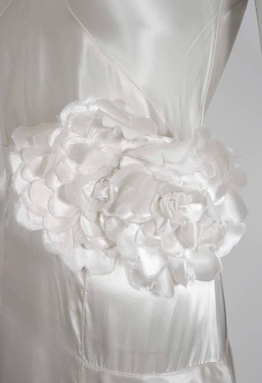 1930's Ethereal Ivory-White Satin Floral Applique Bias-Cut Tiered Deco Gown 4
