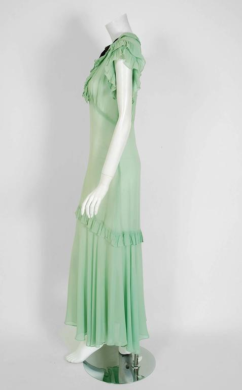 1930's Elegant Seafoam-Green Pleated Ruffle Silk Chiffon Bias-Cut Sheer Gown 3