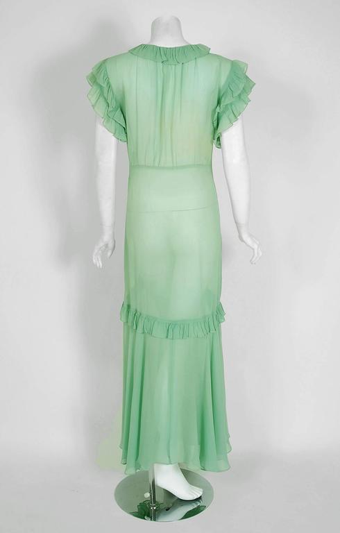 1930's Elegant Seafoam-Green Pleated Ruffle Silk Chiffon Bias-Cut Sheer Gown 5