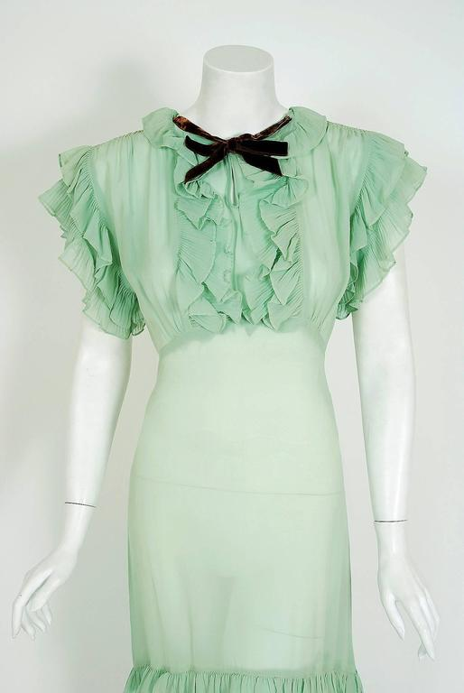 1930's Elegant Seafoam-Green Pleated Ruffle Silk Chiffon Bias-Cut Sheer Gown 2