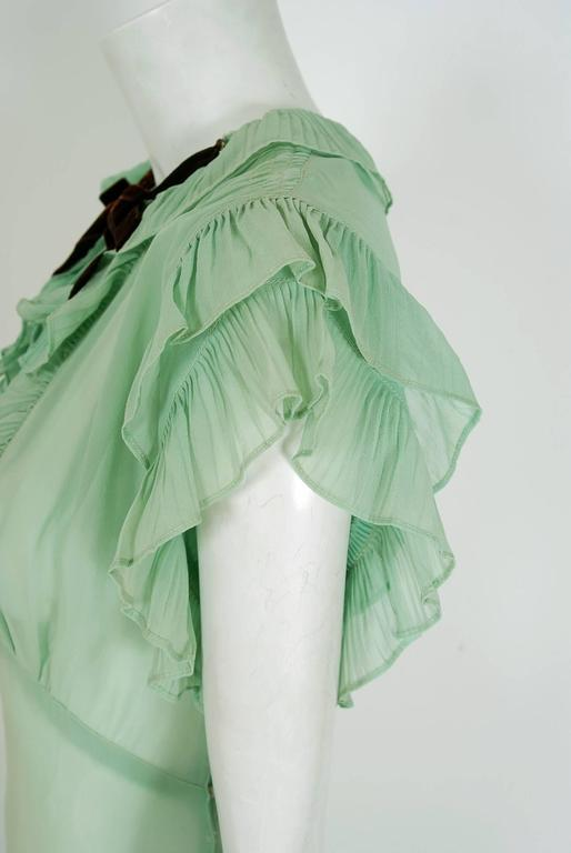 1930's Elegant Seafoam-Green Pleated Ruffle Silk Chiffon Bias-Cut Sheer Gown 4