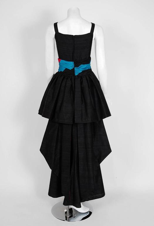 1968 Carven Paris Black & Pink Silk Hourglass Peplum Bustle Formal Evening Gown 5