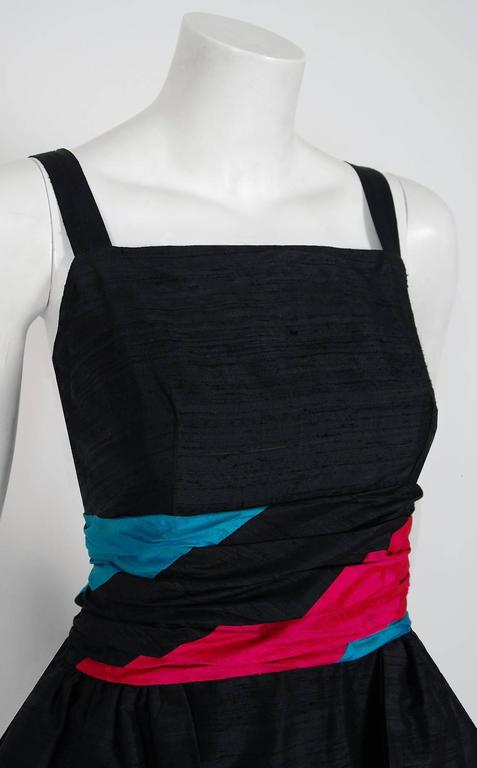 1968 Carven Paris Black & Pink Silk Hourglass Peplum Bustle Formal Evening Gown 4