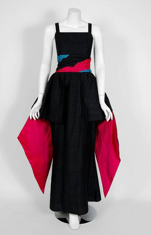 1968 Carven Paris Black & Pink Silk Hourglass Peplum Bustle Formal Evening Gown 2