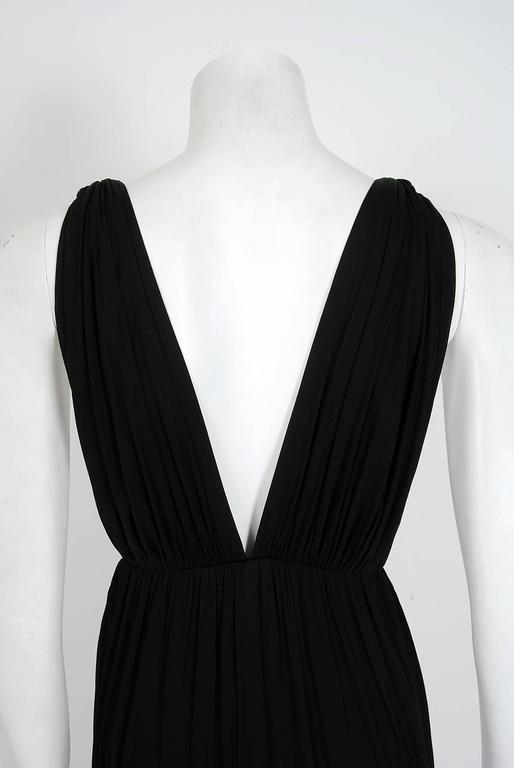 1977 Yves Saint Laurent Black Jersey Gold-Links Plunge Grecian Goddess Gown For Sale 2