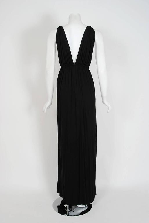 1977 Yves Saint Laurent Black Jersey Gold-Links Plunge Grecian Goddess Gown For Sale 1