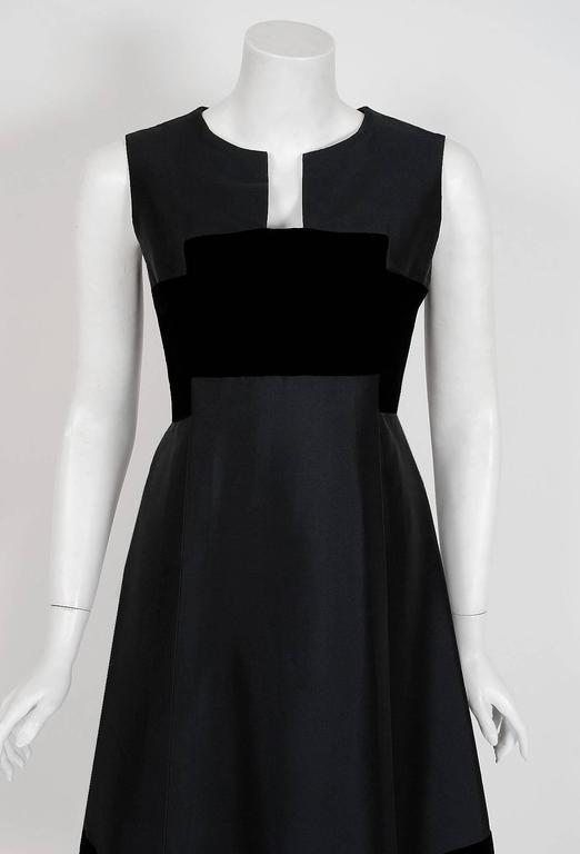 1966 Pierre Balmain Haute-Couture Black Silk & Velvet Mod Cocktail Dress 2