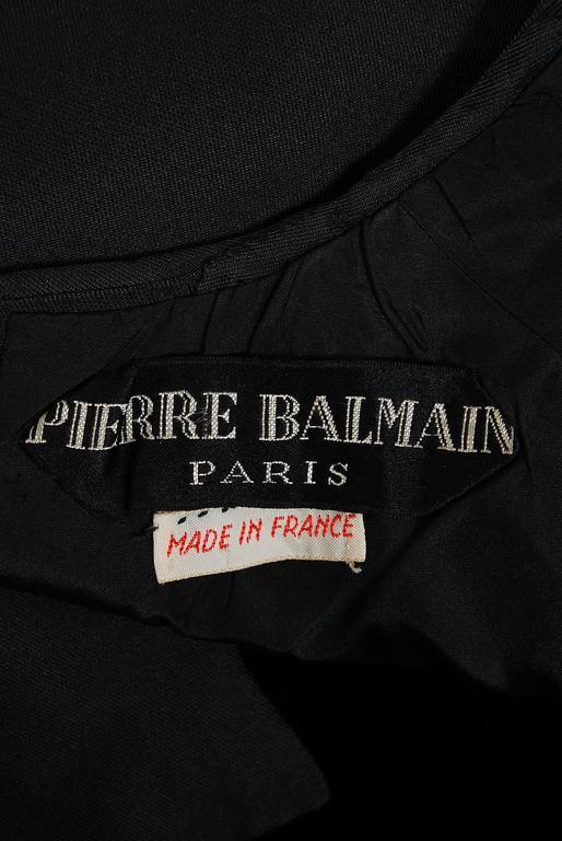 1966 Pierre Balmain Haute-Couture Black Silk & Velvet Mod Cocktail Dress 5
