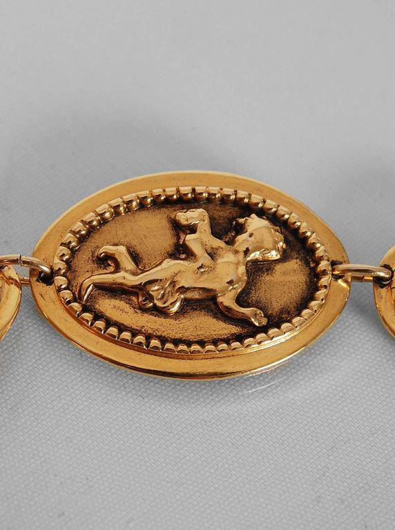 1984 Chanel Rare Cherub Angels Novelty Medallions Gold-Tone Chain Link Belt 4