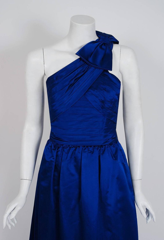 1950 S Elegant Sapphire Blue Satin Pleated One Shoulder