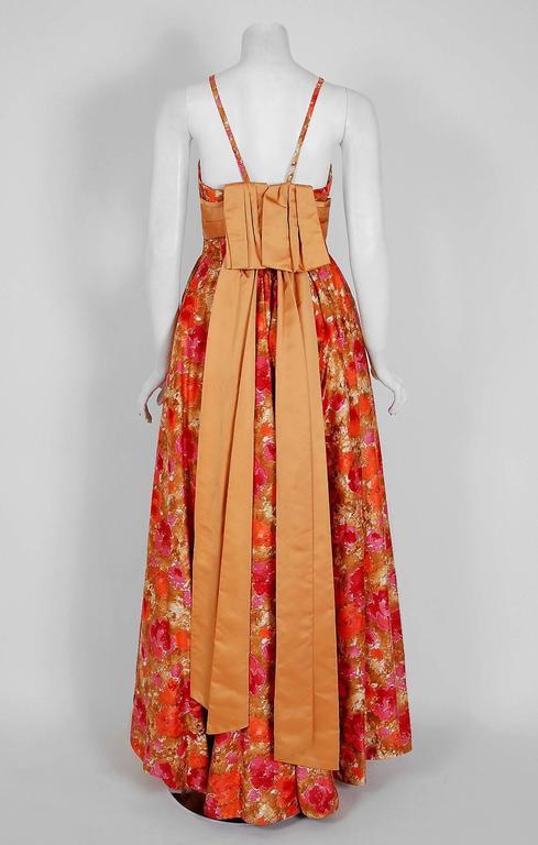 Women's Vintage 1950's Emma Domb Rose-Garden Floral Cotton & Satin Applique Sequin Gown For Sale